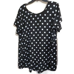 Torrid women's 2x black sheer blouse white polka